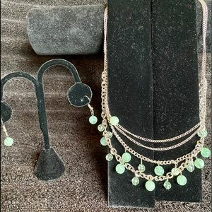 Multi-Strand of Green Beaded Necklace and Earrings